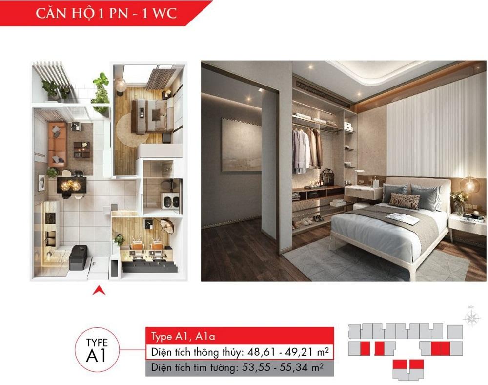Thiết kế căn hộ 1 phòng ngủ, dự án Astral City