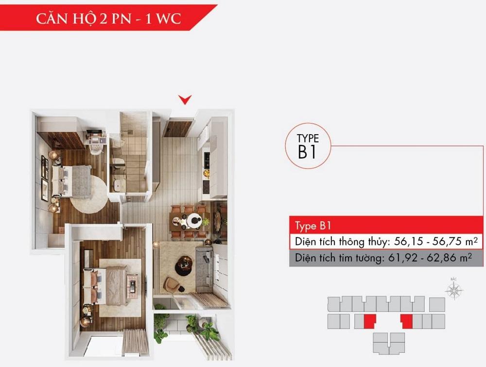 Thiết kế căn hộ 2 phòng ngủ, dự án Astral City (Type B)