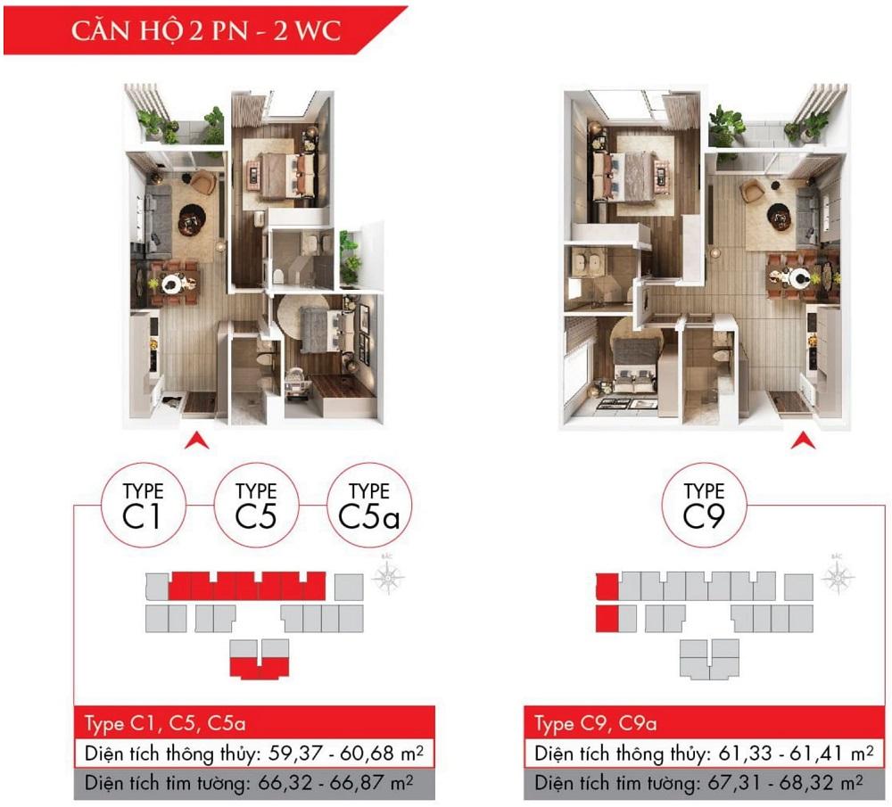 Thiết kế căn hộ 2 phòng ngủ, dự án Astral City (Type C)