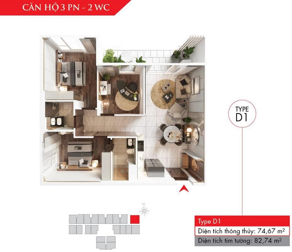 Thiết kế căn hộ 3 phòng ngủ, dự án Astral City (Type D)