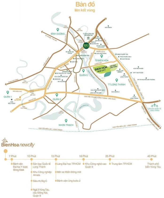 Bản đồ liên kết vùng dự án Biên Hòa New City