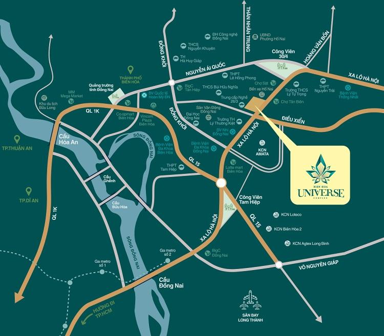 Bản đồ vị trí dự án Biên Hòa Universe Complex Hưng Thịnh