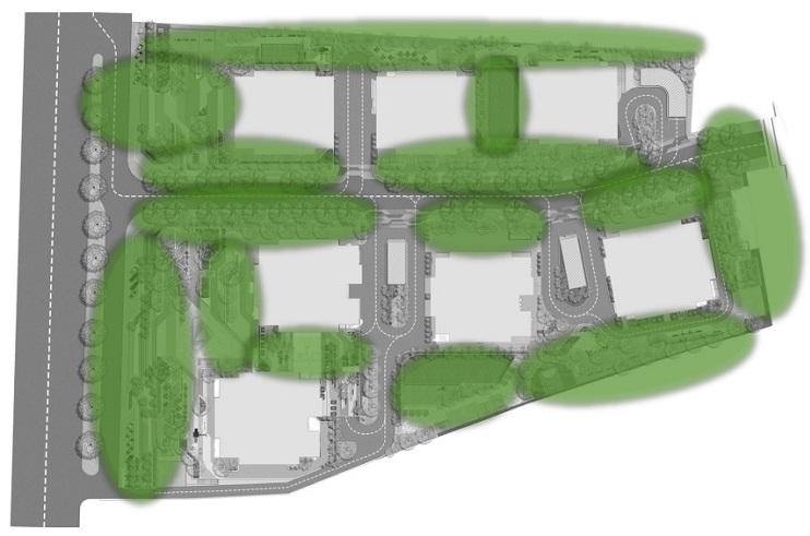 Mảng xanh xung quanh dự án Biên Hòa Universe Complex